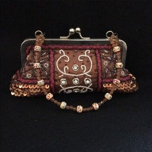 Beaded Brown evening bag Excellent condition